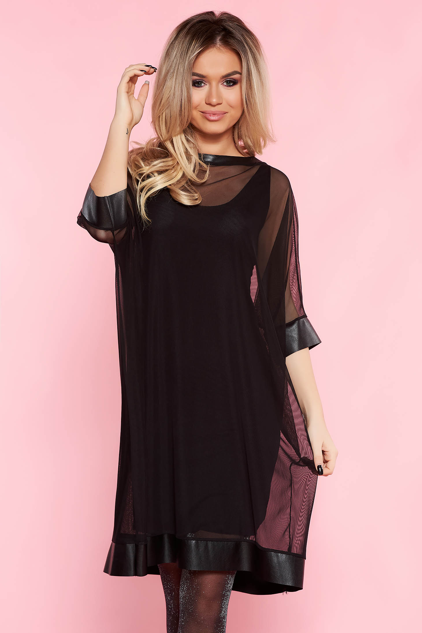 SunShine black clubbing flared dress from tulle with inside lining with faux leather details