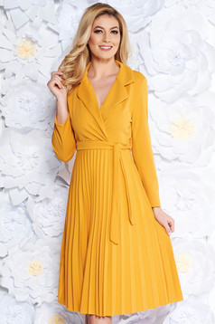 SunShine yellow daily folded up cloche dress slightly elastic fabric accessorized with tied waistband