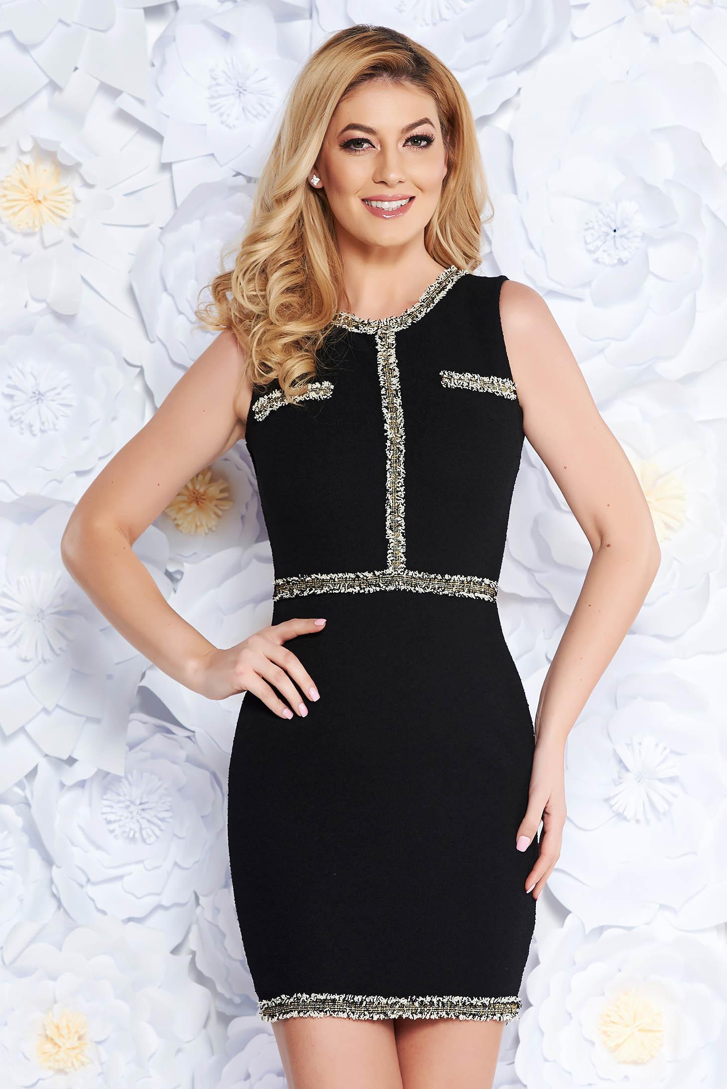 SunShine black elegant dress with tented cut slightly elastic fabric sleeveless