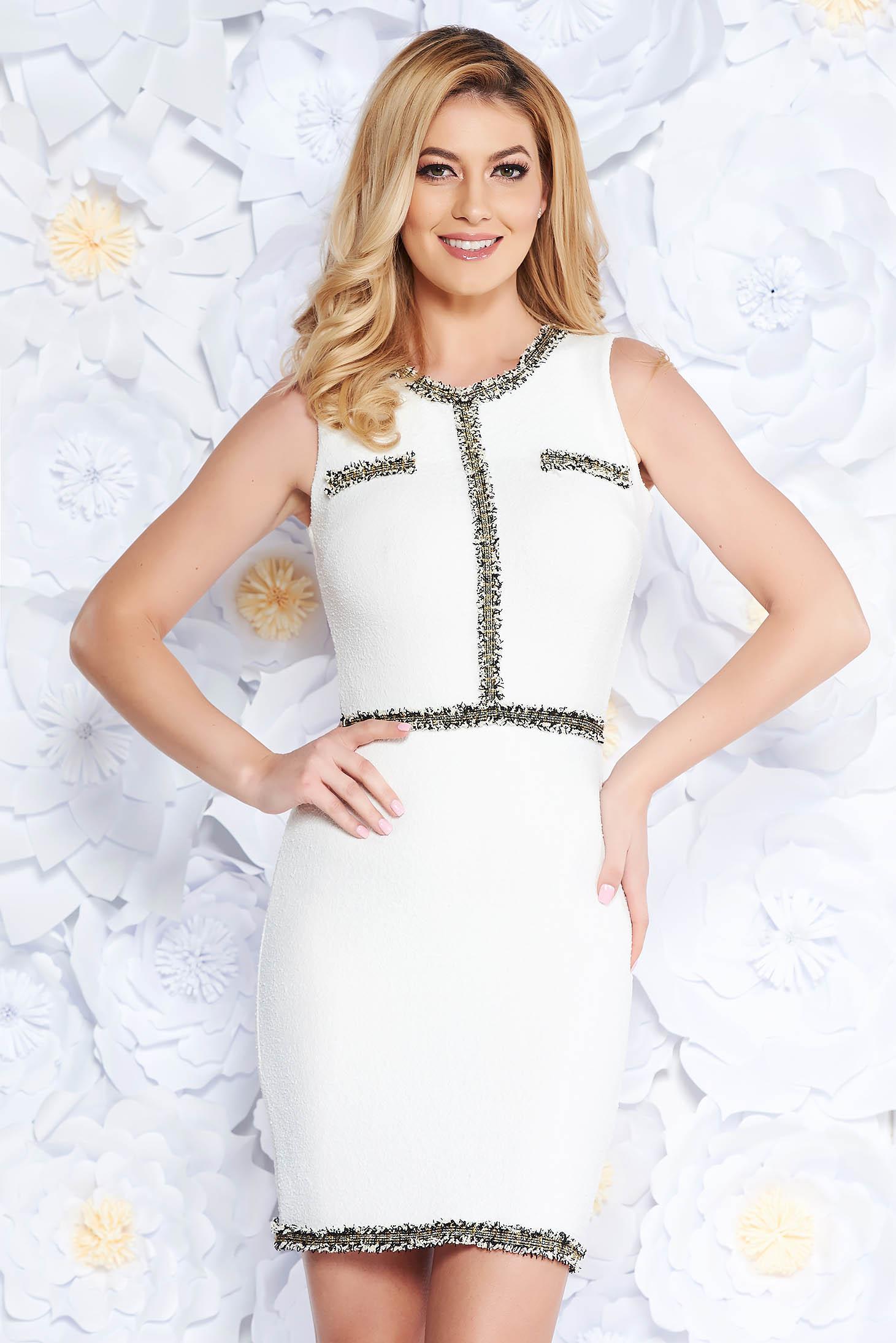 SunShine white elegant dress with tented cut slightly elastic fabric sleeveless