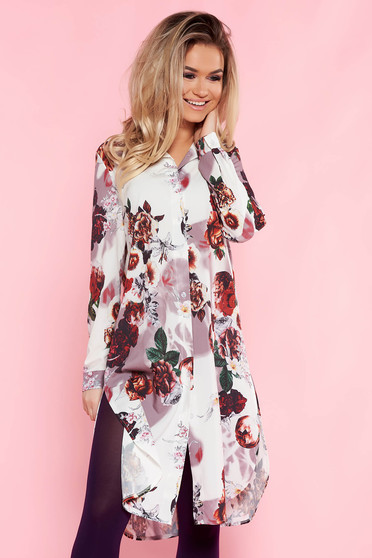 SunShine white casual flared dress thin fabric with floral prints