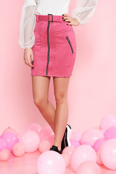 SunShine fuchsia casual skirt from velvet fabric with metallic spikes accessorized with belt