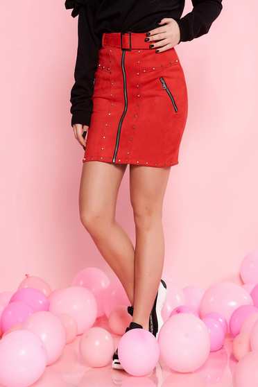 SunShine red casual skirt from velvet fabric with metallic spikes accessorized with belt