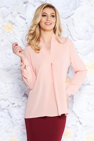 SunShine rosa elegant flared women`s blouse voile fabric with v-neckline