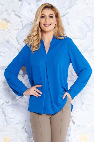 SunShine blue elegant flared women`s blouse voile fabric with v-neckline