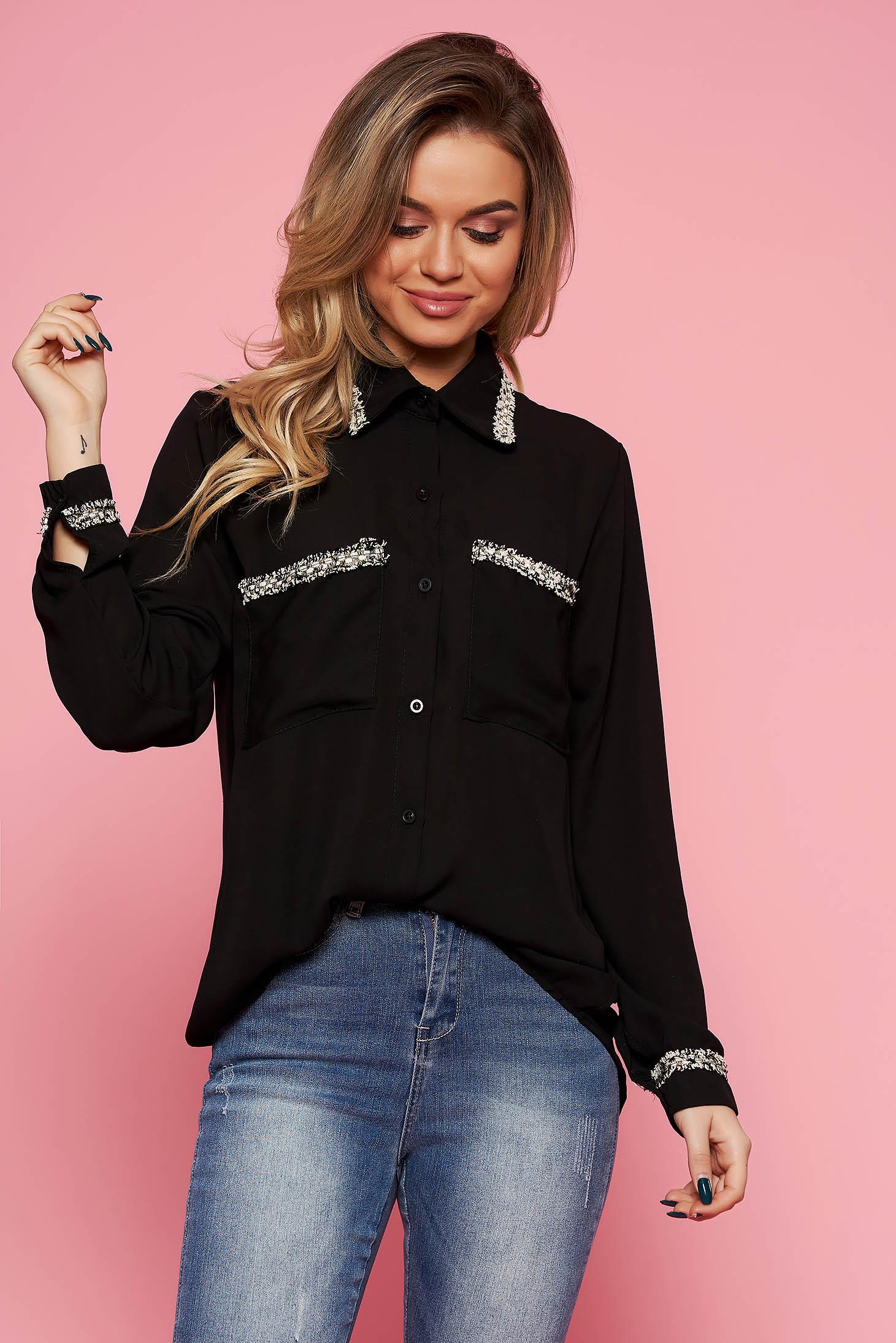 SunShine black elegant flared women`s shirt voile fabric long sleeved
