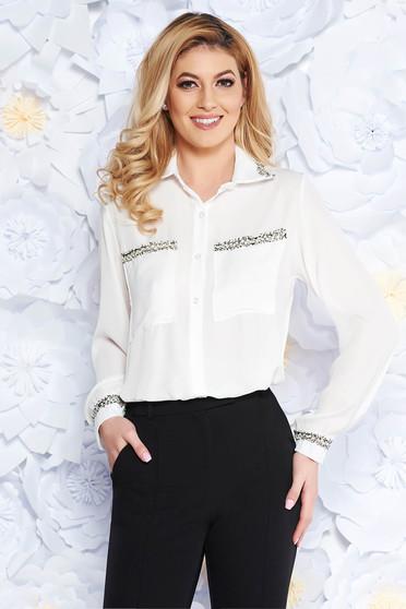 SunShine white elegant flared women`s shirt voile fabric long sleeved