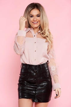 SunShine rosa elegant flared women`s shirt nonelastic fabric with laced sleeves