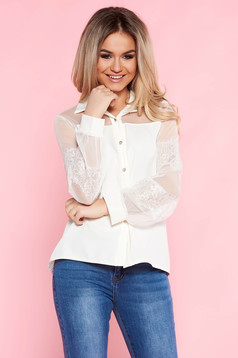 SunShine white elegant flared women`s shirt nonelastic fabric with laced sleeves
