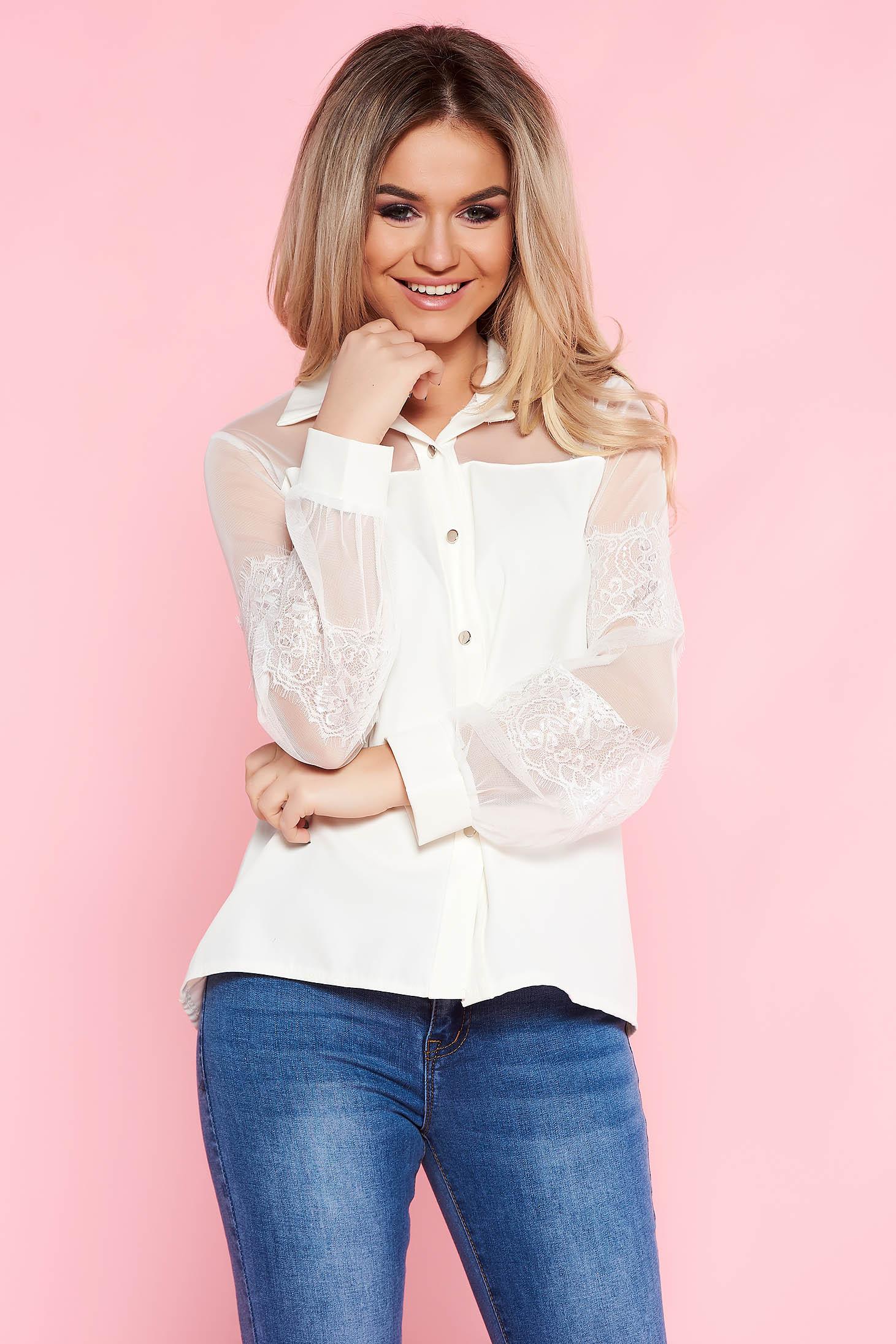 1b7fb47ce6 Fehér SunShine elegáns bő szabású női ing nem rugalmas anyag csipke ujj
