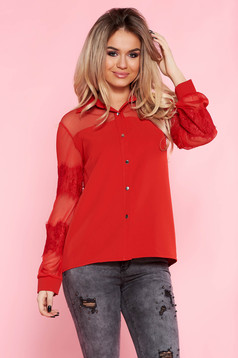 SunShine red elegant flared women`s shirt nonelastic fabric with laced sleeves