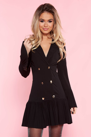 SunShine black clubbing blazer type dress arched cut with ruffles at the buttom of the dress