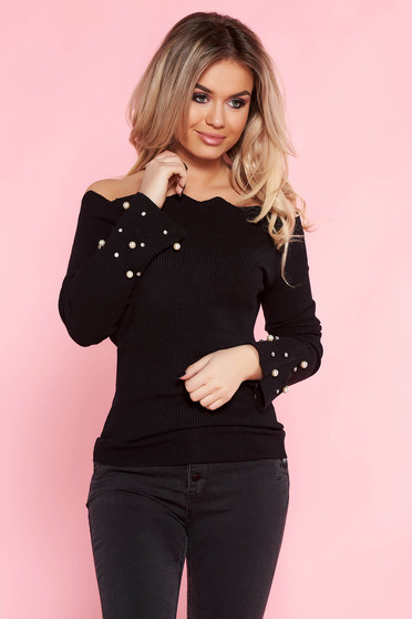 SunShine black casual sweater with tented cut knitted fabric with pearls