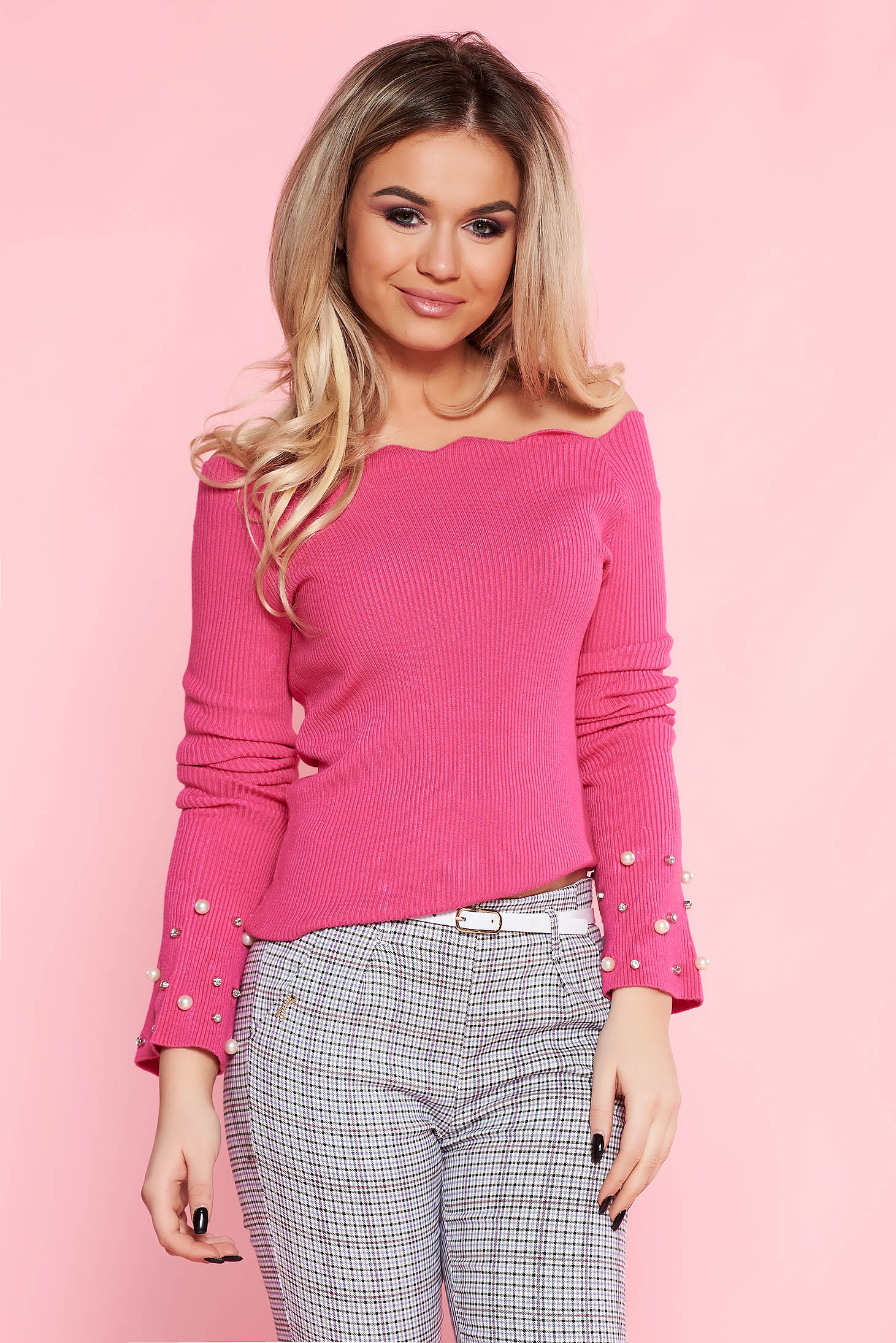 SunShine pink casual sweater with tented cut knitted fabric with pearls