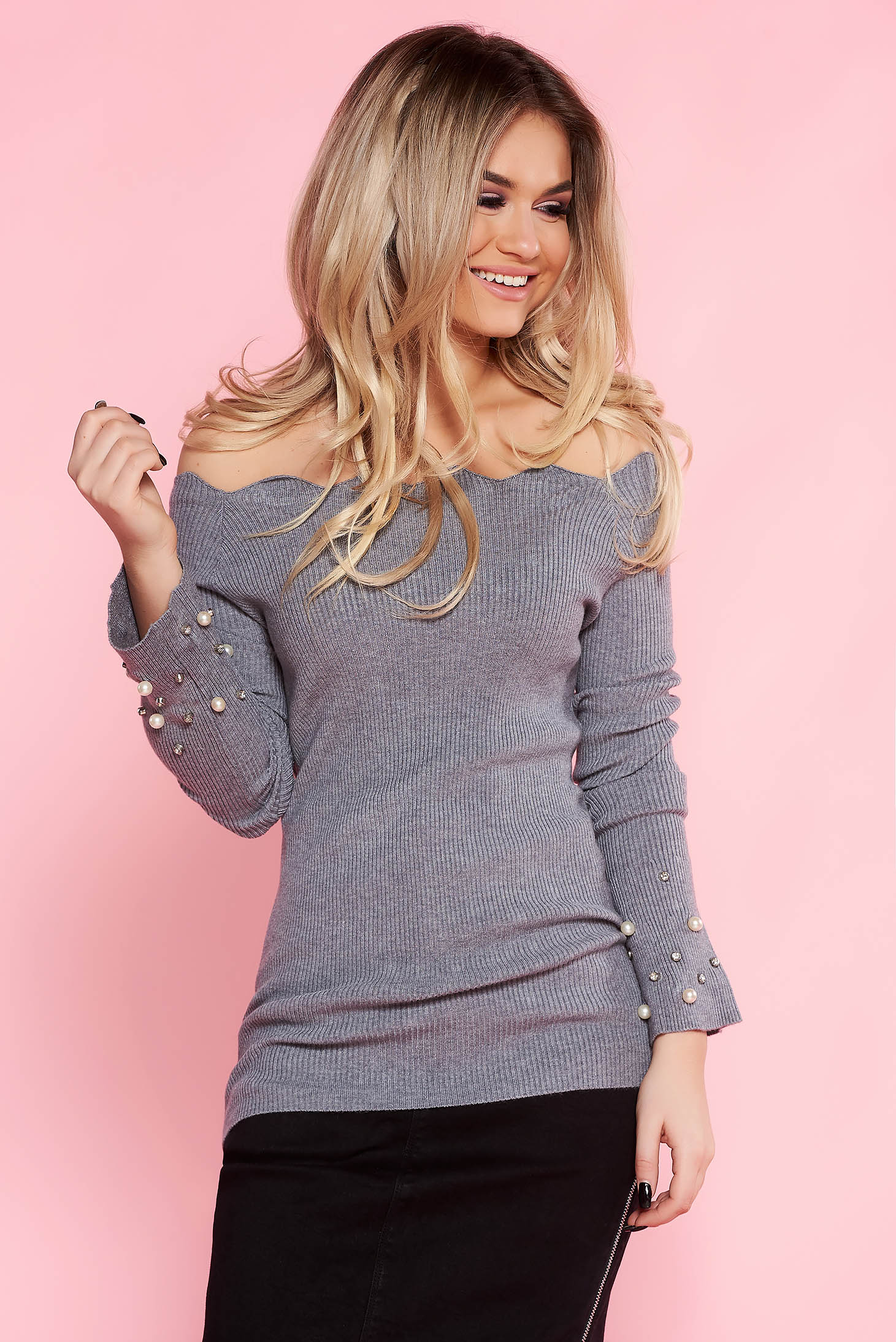 SunShine grey casual sweater with tented cut knitted fabric with pearls