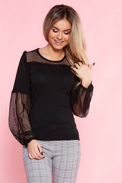 SunShine black casual flared women`s blouse thin fabric elastic held sleeves