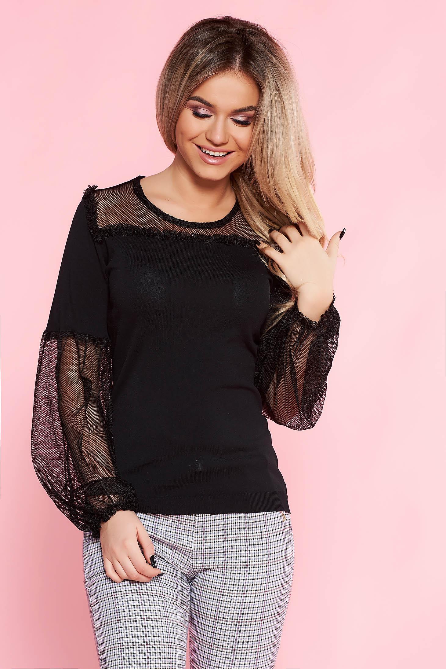SunShine black casual flared women`s blouse thin fabric elastic held sleeves