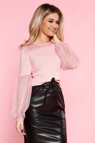 SunShine pink casual flared women`s blouse thin fabric elastic held sleeves