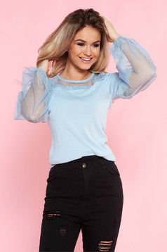 SunShine lightblue casual flared women`s blouse thin fabric elastic held sleeves