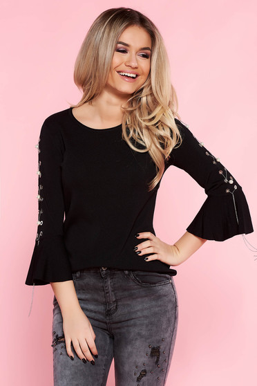 SunShine black casual flared women`s blouse with bell sleeve with metal accessories with pearls