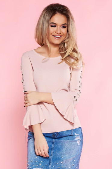 SunShine rosa casual flared women`s blouse with bell sleeve with metal accessories with pearls