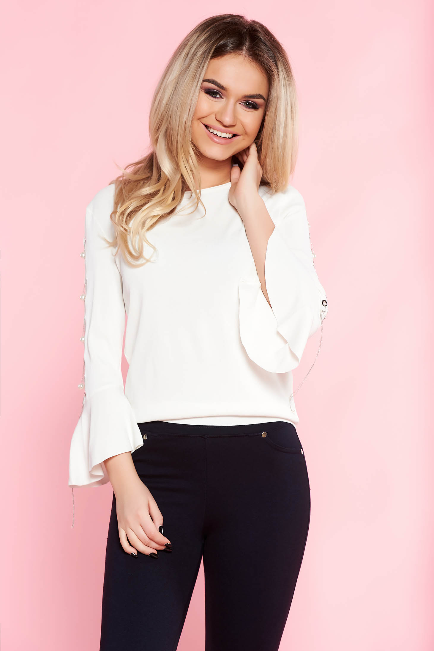 SunShine white casual flared women`s blouse with bell sleeve with metal accessories with pearls