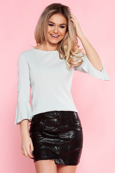 SunShine grey casual flared women`s blouse with bell sleeve with metal accessories with pearls