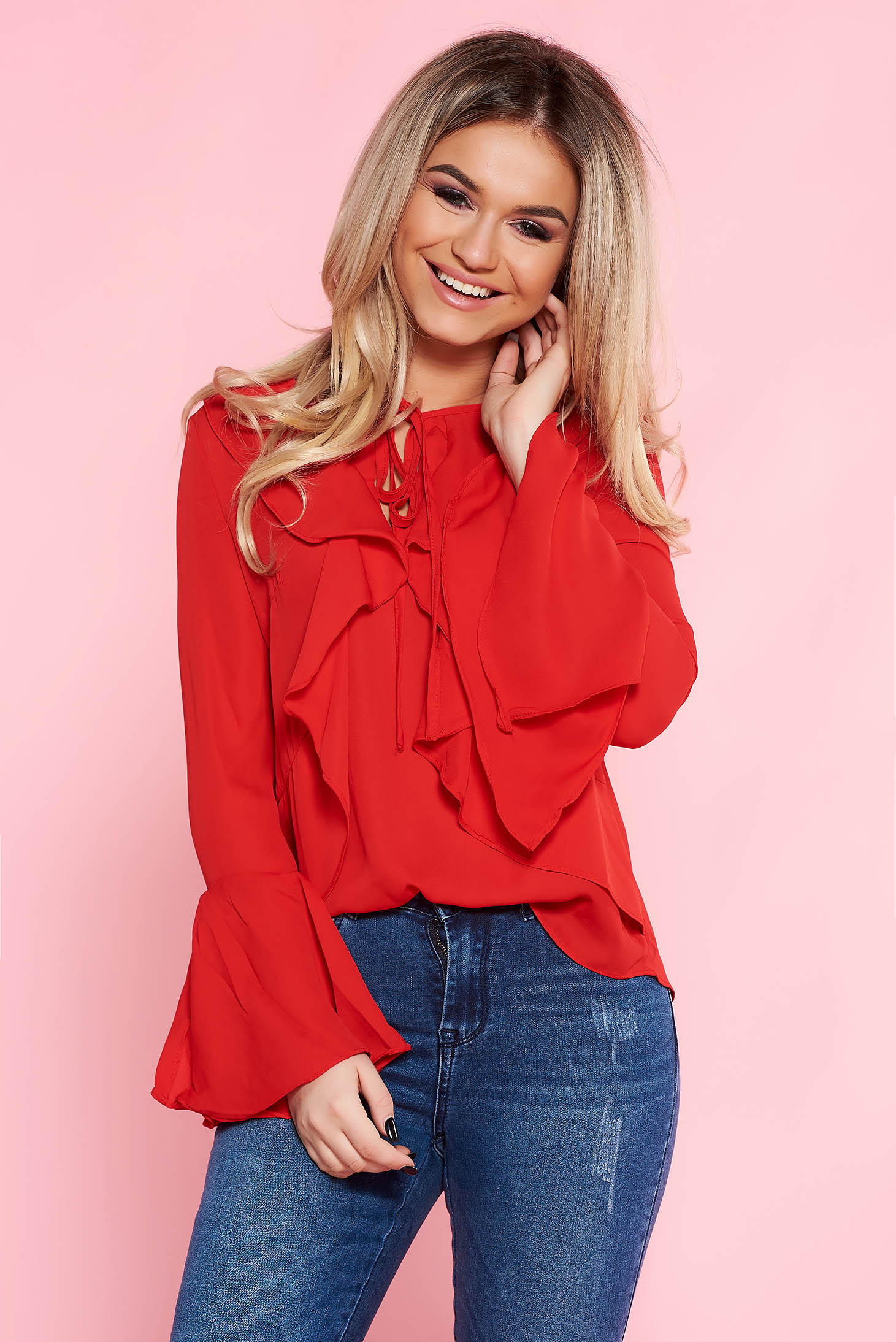 Top Secret red casual flared women`s blouse from veil fabric with bell sleeve with ruffle details