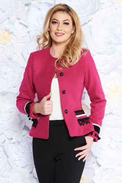 LaDonna pink elegant wool jacket arched cut with inside lining handmade applications