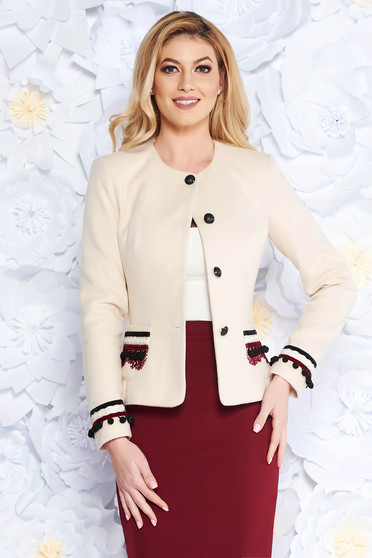 LaDonna cream elegant wool jacket arched cut with inside lining handmade applications