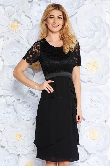Black occasional midi dress from laced fabric with ruffle details with inside lining voile fabric