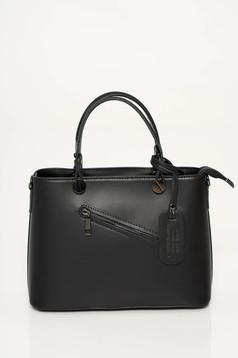 Black bag office natural leather medium grab handles