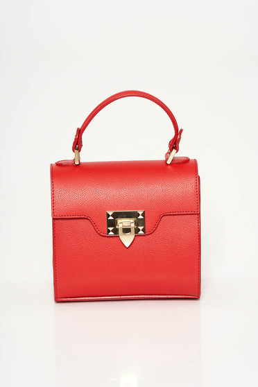 Red casual bag natural leather metallic buckle