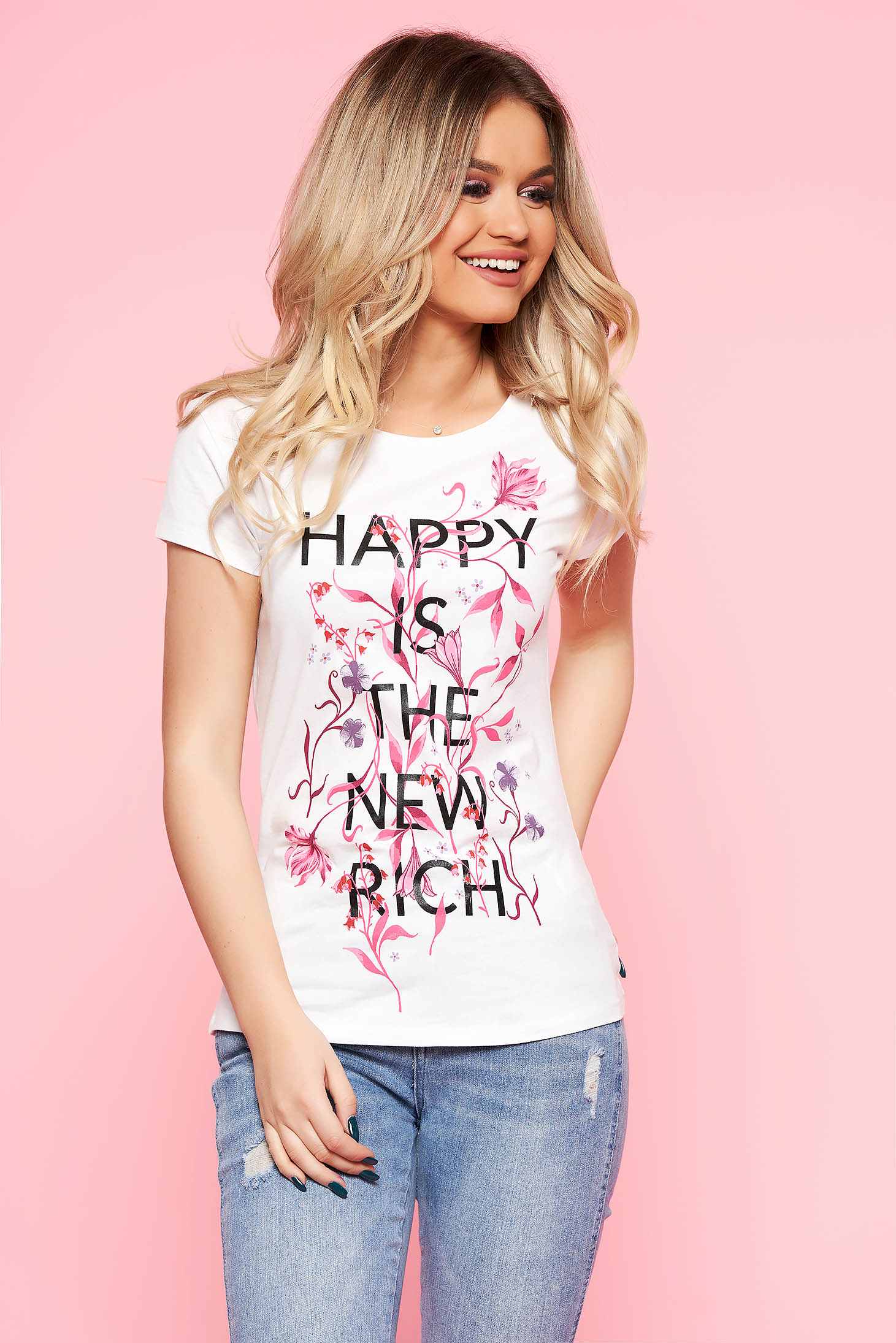Top Secret white casual flared cotton t-shirt with floral print texted