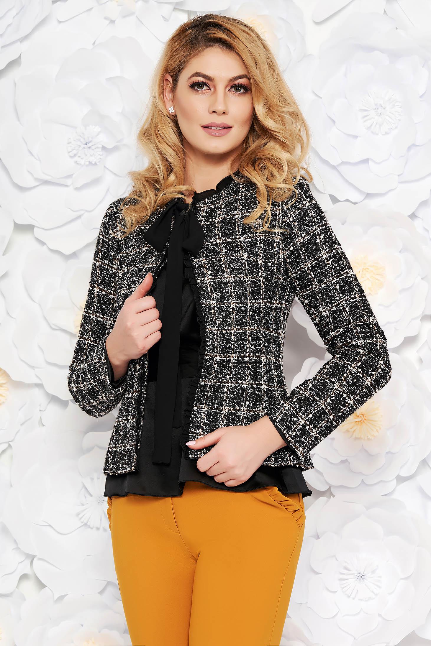 LaDonna black elegant wool jacket arched cut with inside lining with sequin embellished details
