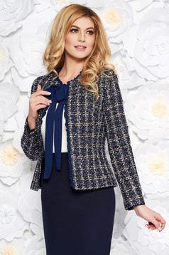 LaDonna darkblue elegant wool jacket arched cut with inside lining with sequin embellished details
