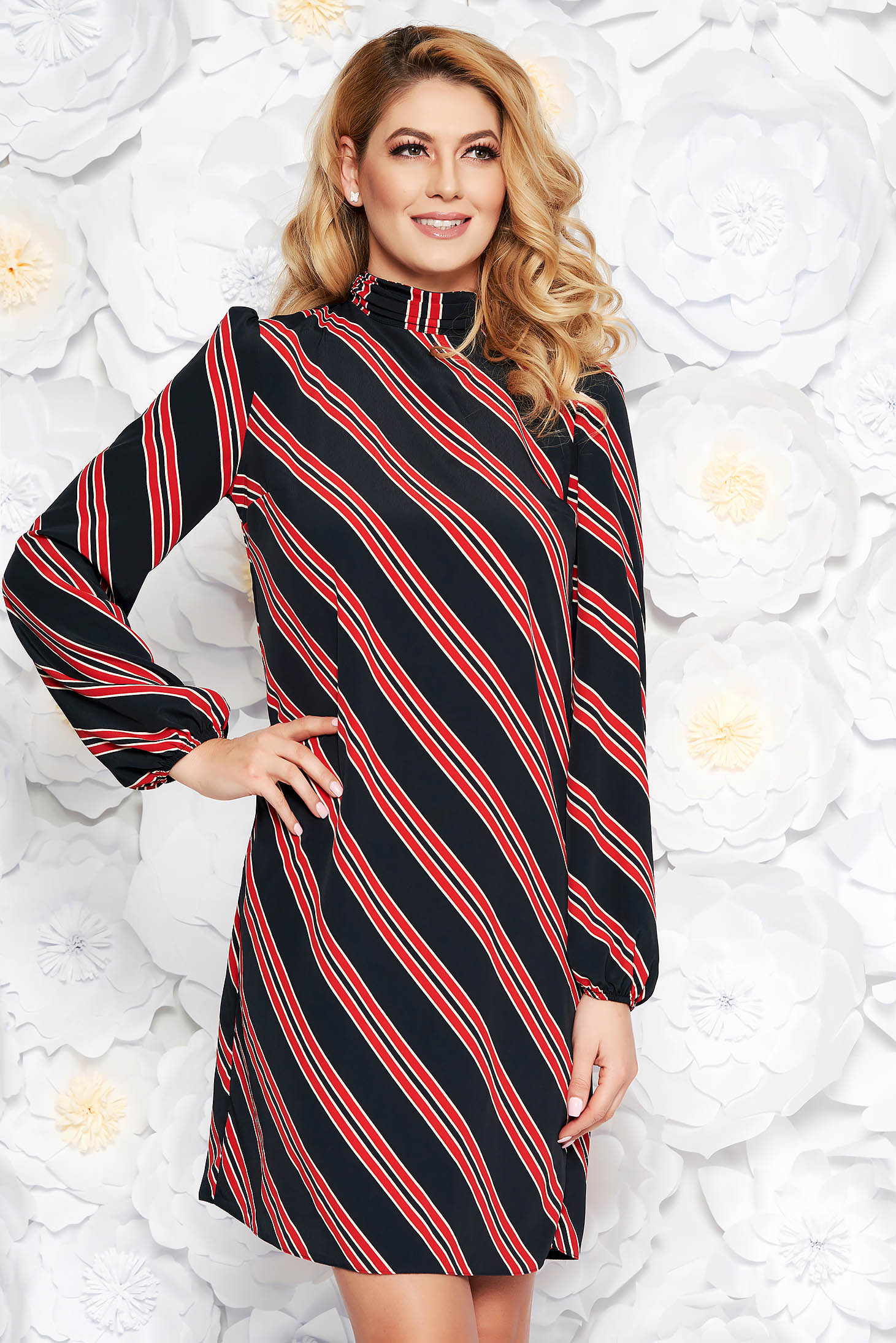 PrettyGirl black daily dress with straight cut thin fabric with inside lining elastic held sleeves