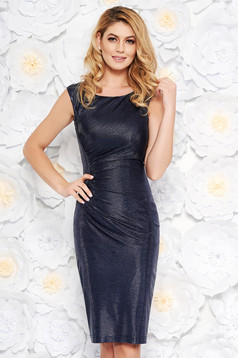 Darkblue occasional midi sleeveless pencil dress from shiny fabric with inside lining