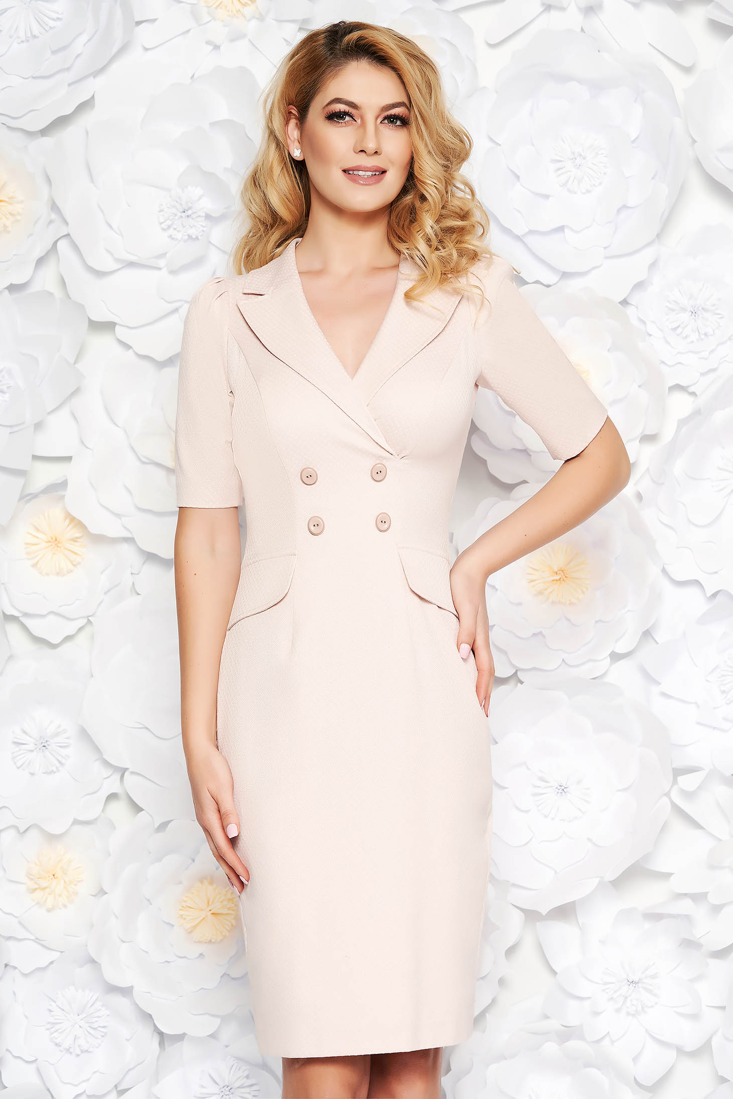 Rosa elegant midi pencil dress slightly elastic cotton with inside lining with button accessories