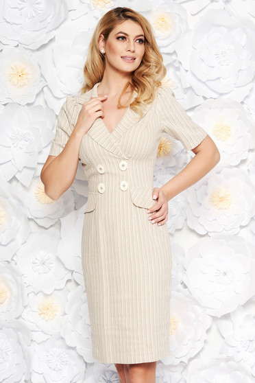 Cream office midi pencil dress airy fabric with inside lining with button accessories