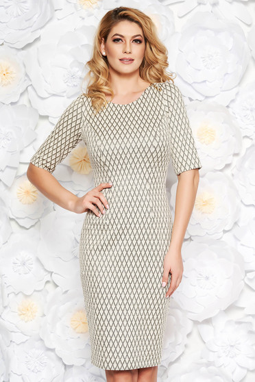 Gold elegant midi pencil dress cotton with lame thread with 3/4 sleeves