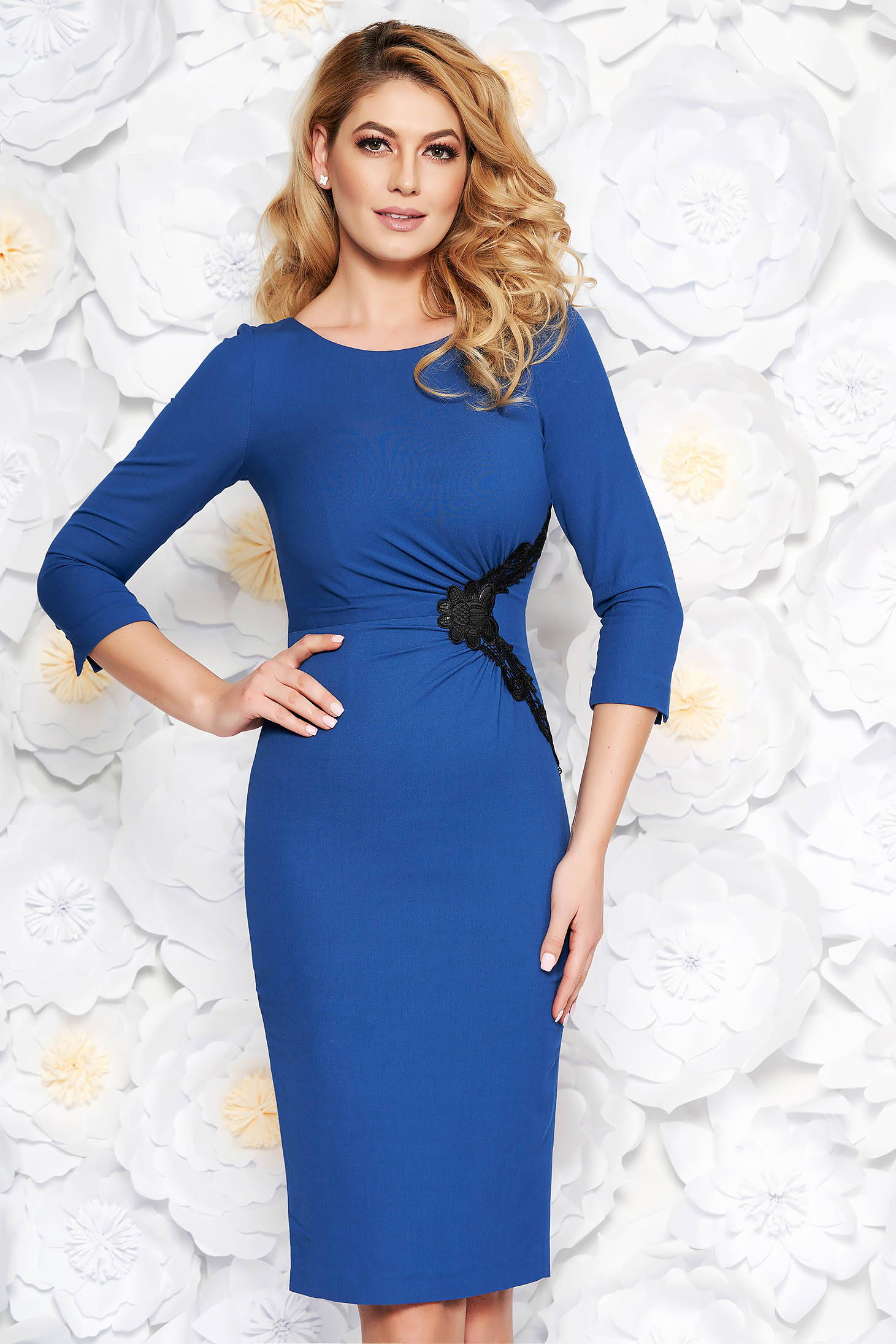 Blue elegant midi pencil dress soft fabric with inside lining with lace details