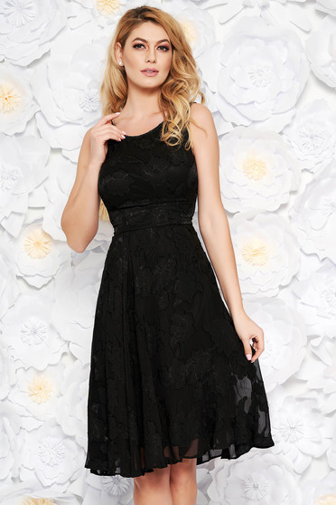 Black occasional cloche dress from veil fabric with raised flowers with inside lining sleeveless