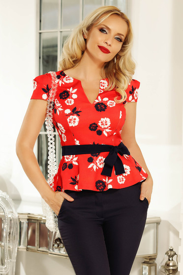 Fofy red office women`s blouse with frilled waist slightly elastic fabric accessorized with tied waistband