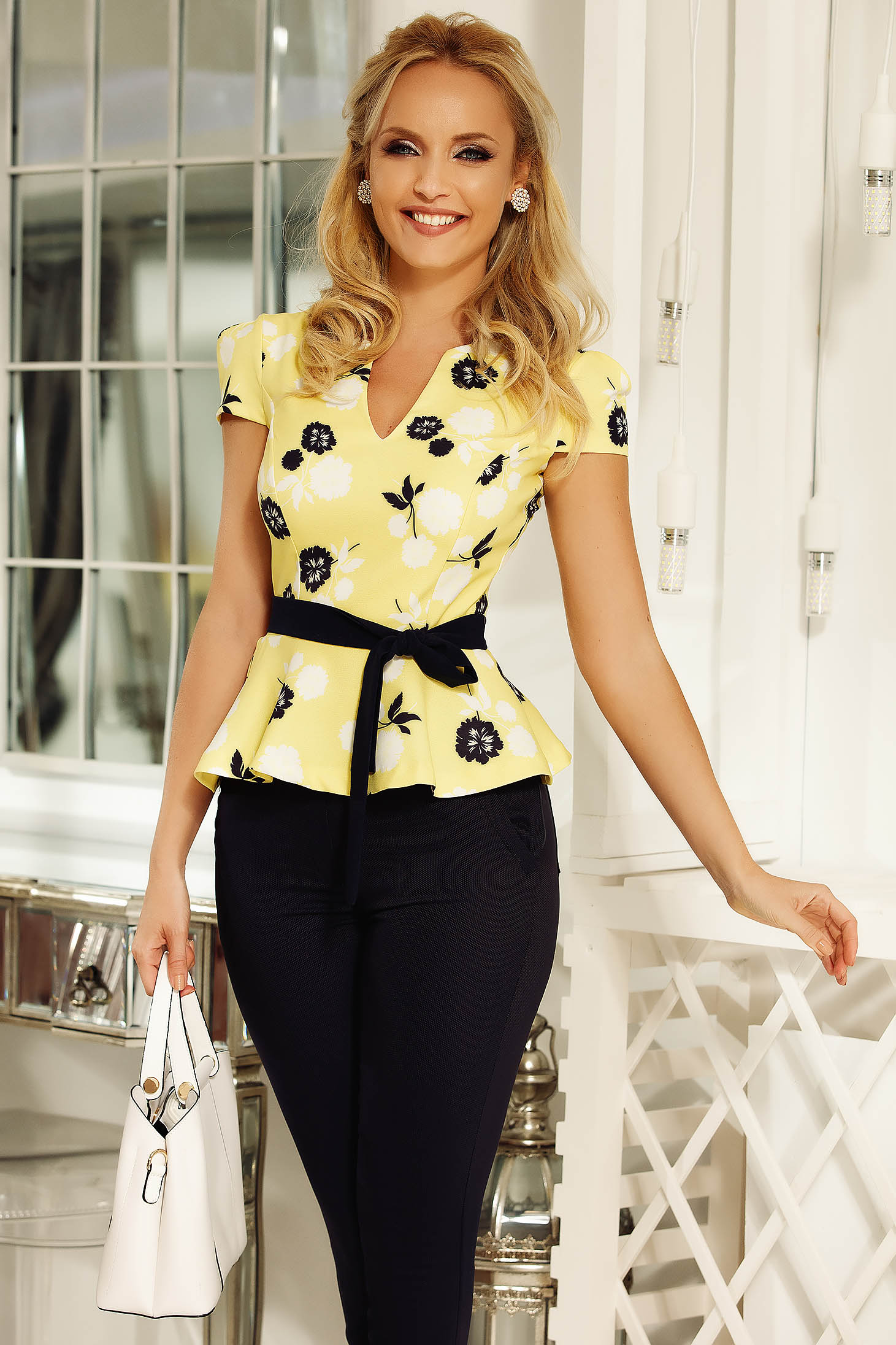 Fofy yellow office women`s blouse with frilled waist slightly elastic fabric accessorized with tied waistband