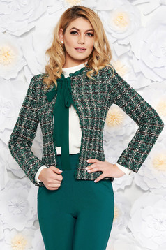 LaDonna green elegant wool jacket arched cut with inside lining with sequin embellished details