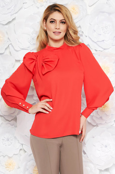 LaDonna coral women`s blouse elegant flared airy fabric with inside lining bow accessory