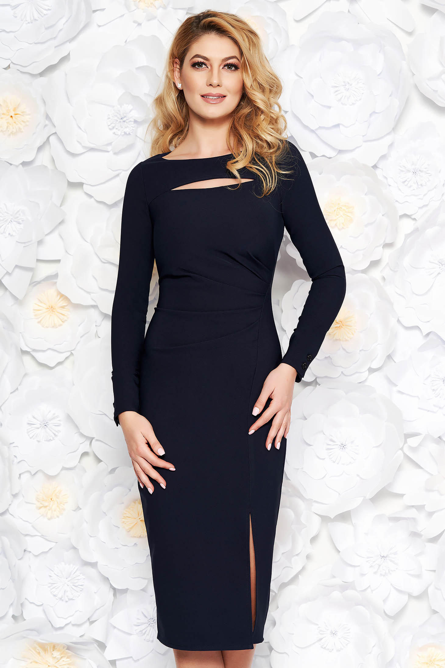 StarShinerS darkblue elegant midi pencil dress long sleeved from elastic fabric