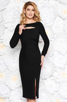 StarShinerS black elegant midi pencil dress long sleeved from elastic fabric