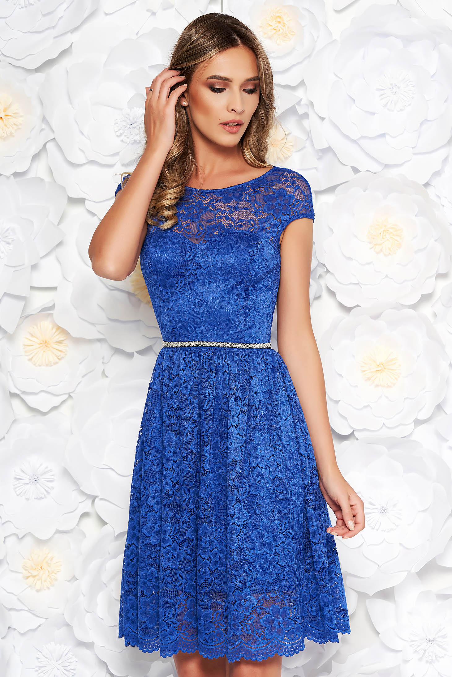 StarShinerS blue elegant cloche dress from laced fabric with inside lining accessorized with tied waistband